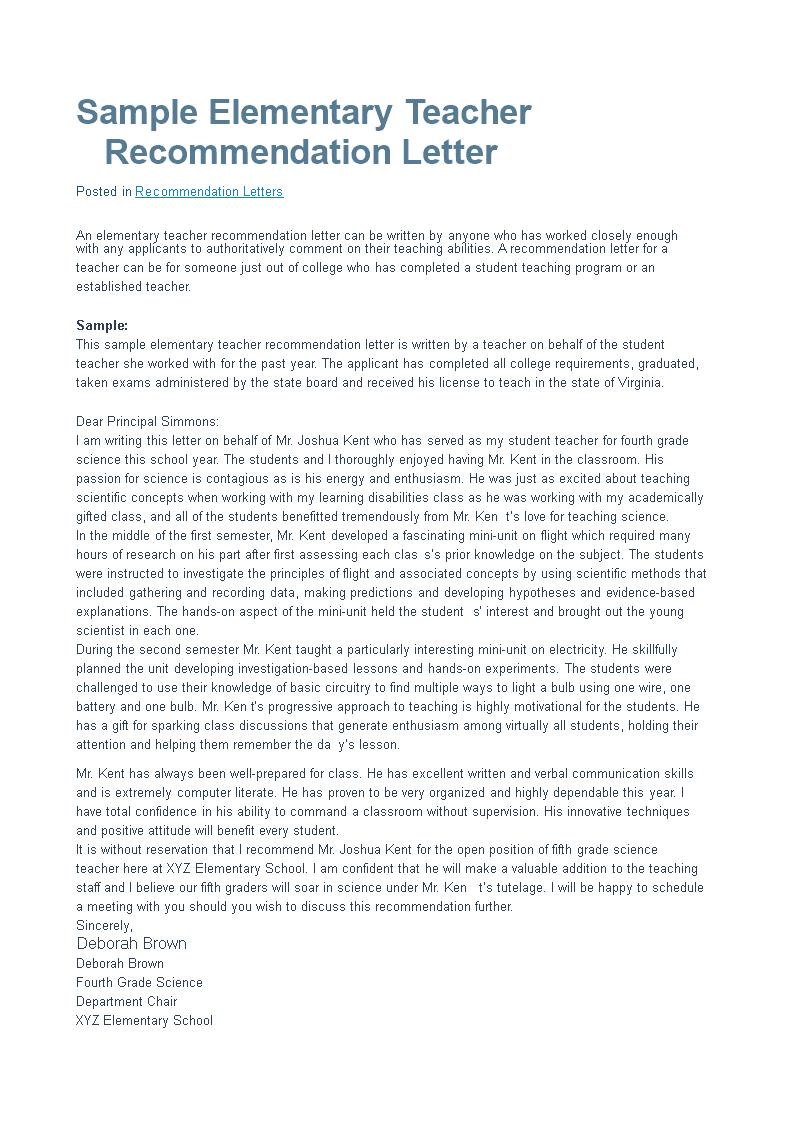 letter of recommendation for an elementary teacher