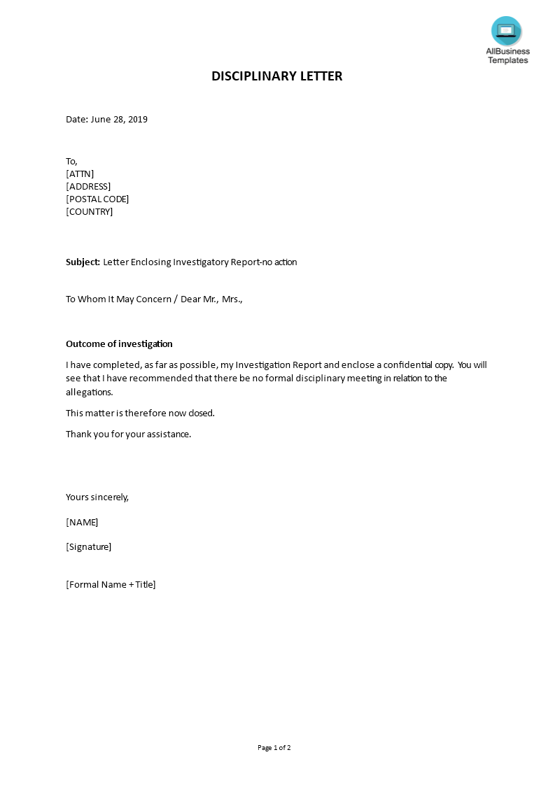 Disciplinary Letter Enclosing Investigatory Report | Templates at allbusinesstemplates.com