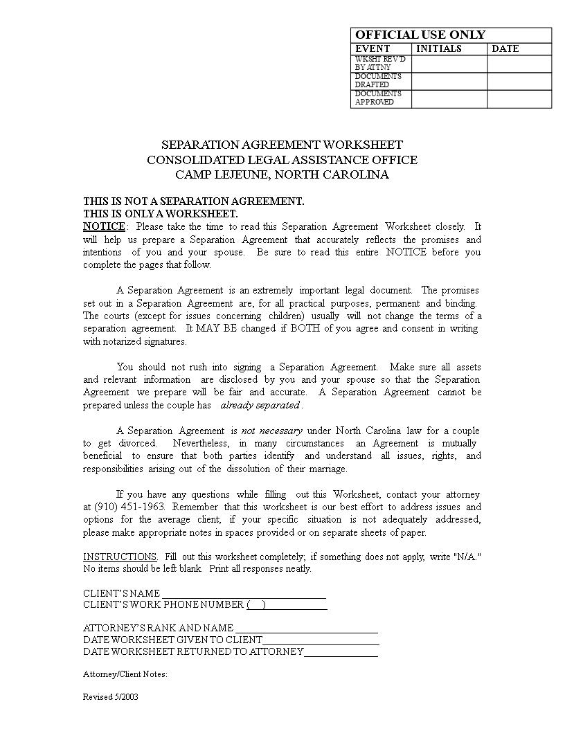 Separation Agreement Worksheet | Templates at allbusinesstemplates.com