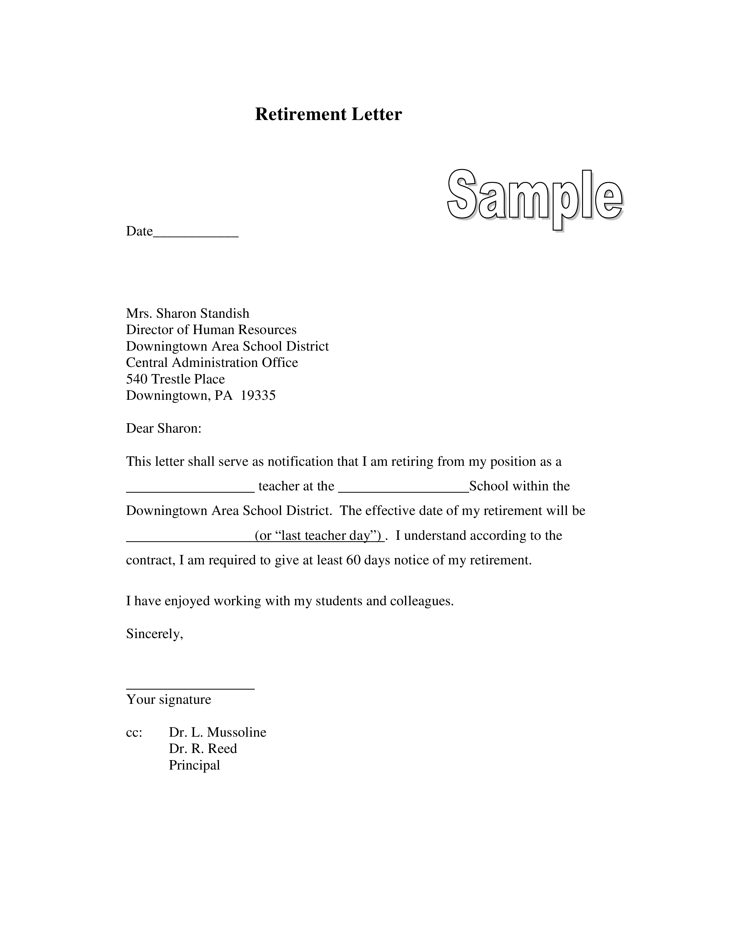 Letter Of Retirement Format  Templates at