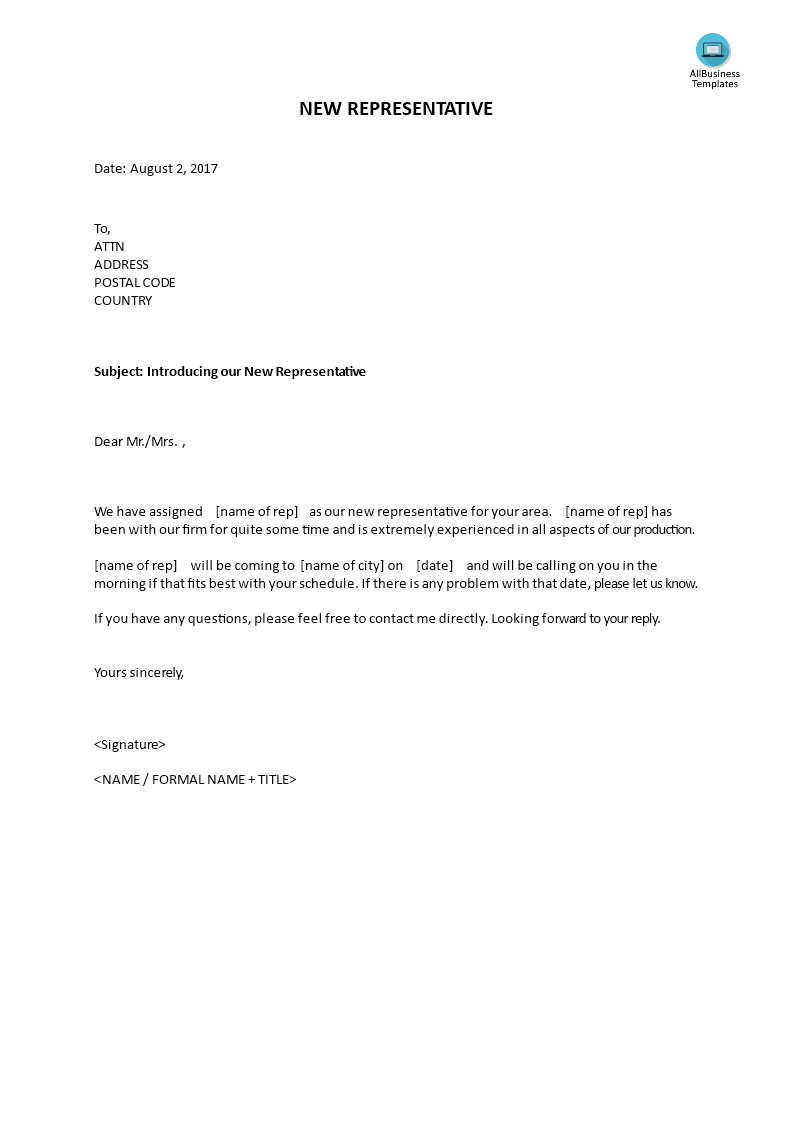 Introduction Letter of New Sales Representative | Templates at allbusinesstemplates.com