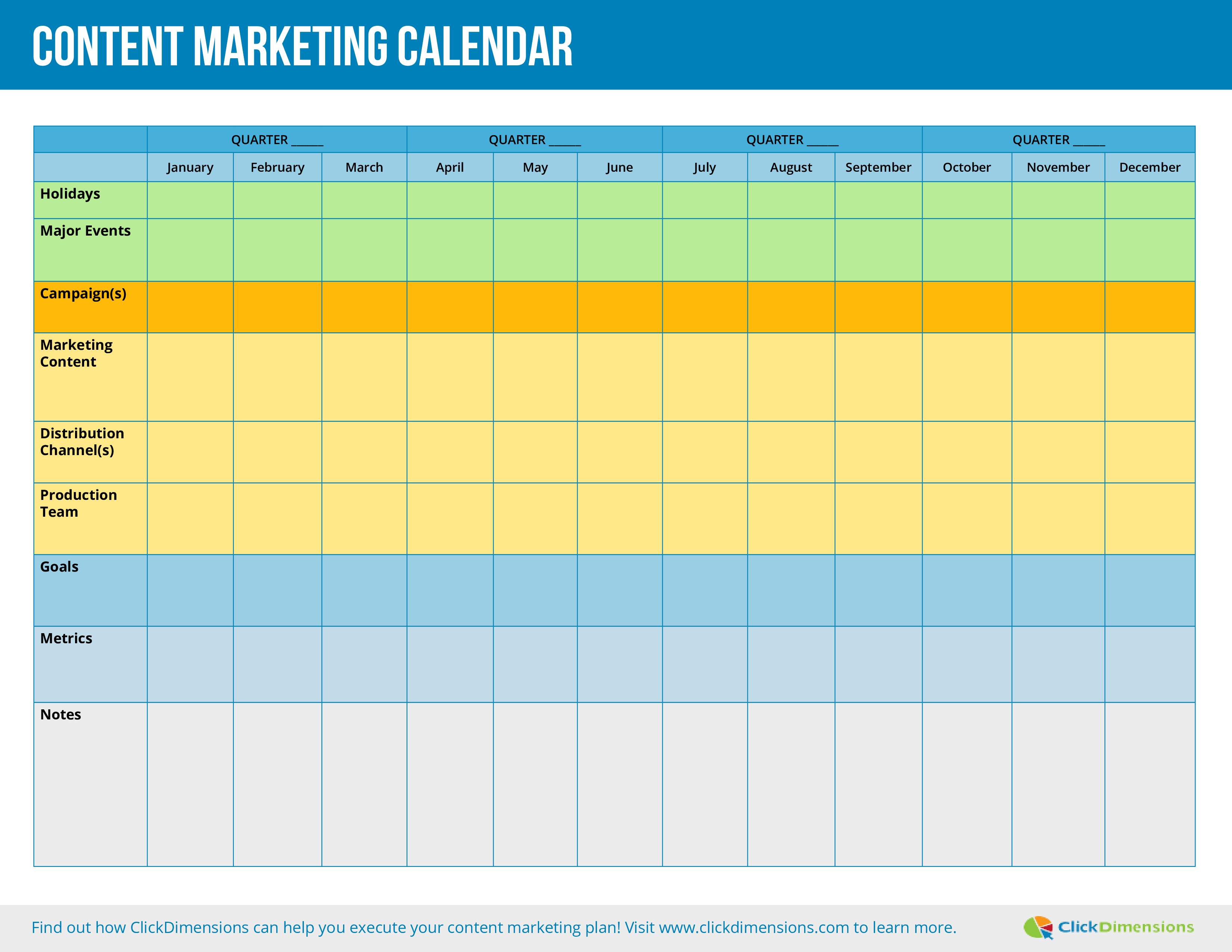 Overview of all products overview of hubspot's free tools marketing automation software. Content Marketing Calendar Templates At Allbusinesstemplates Com