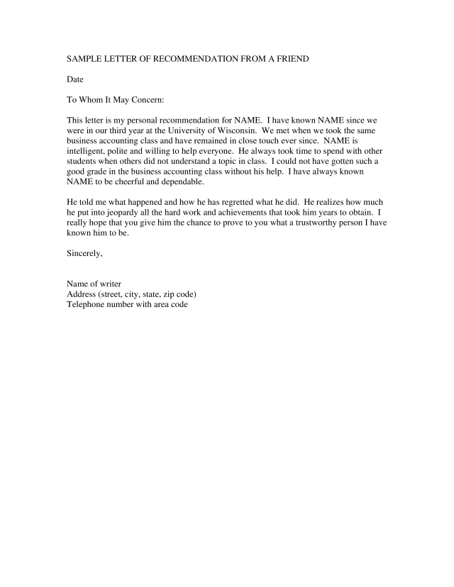 Kostenloses Professional Reference Letter For A Friend