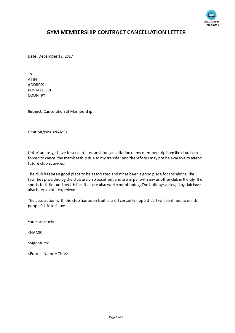 letter to cancel gym membership