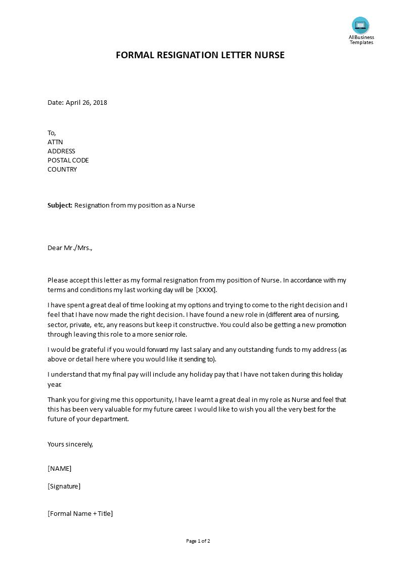 Formal Resignation Letter Nurse Position   Templates at allbusinesstemplates.com