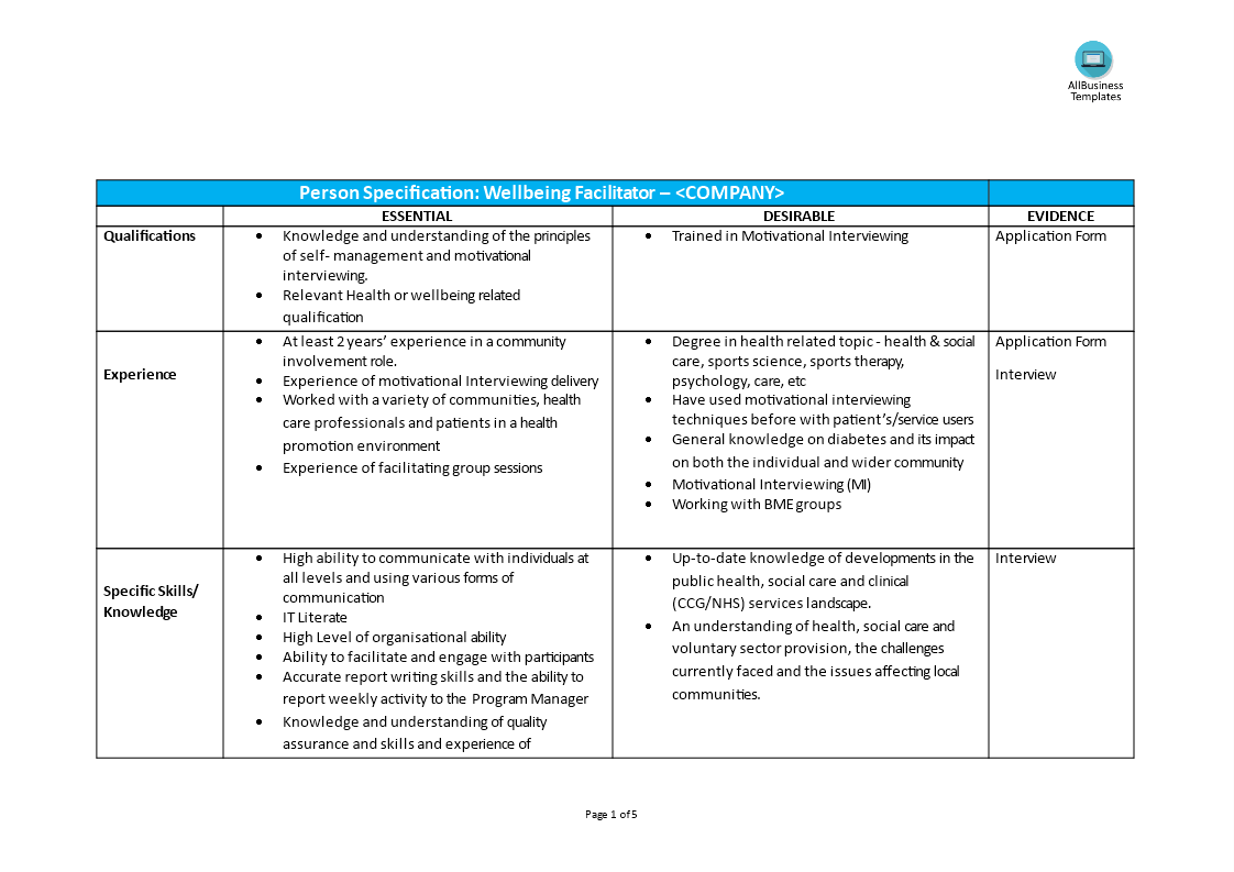 Wellbeing facilitator job description | Templates at allbusinesstemplates.com