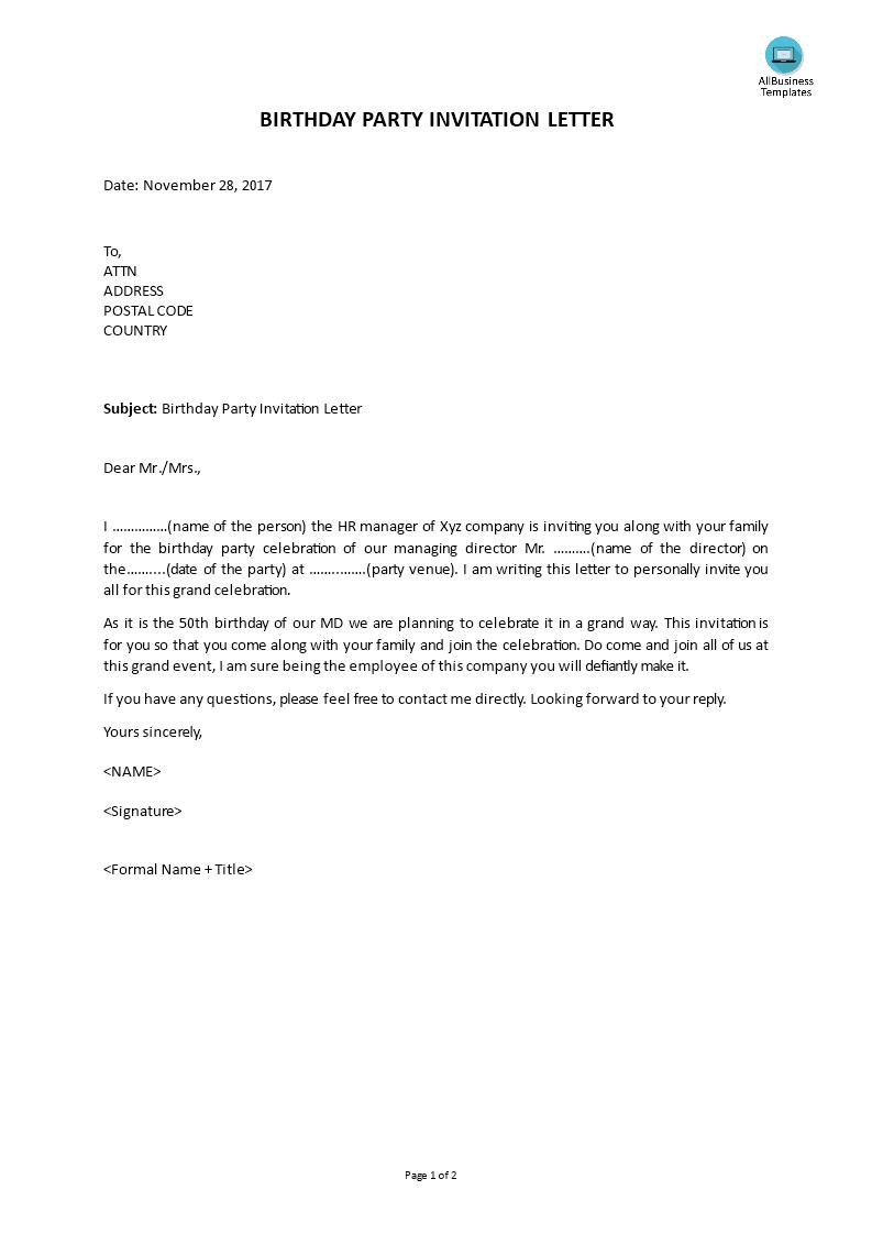 Birthday Party Invitation Letter   Templates at allbusinesstemplates.com