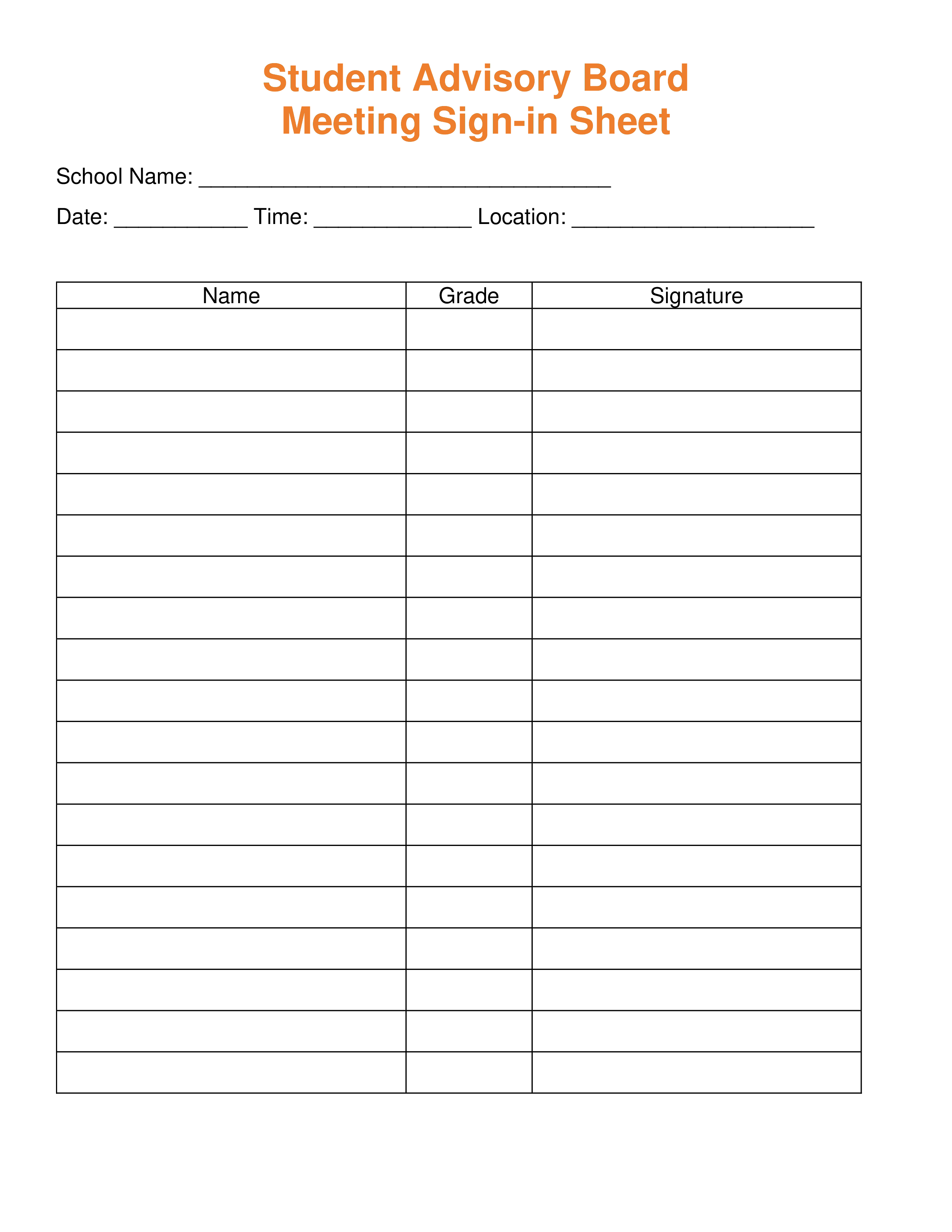 Board Meeting Sign In Sheet