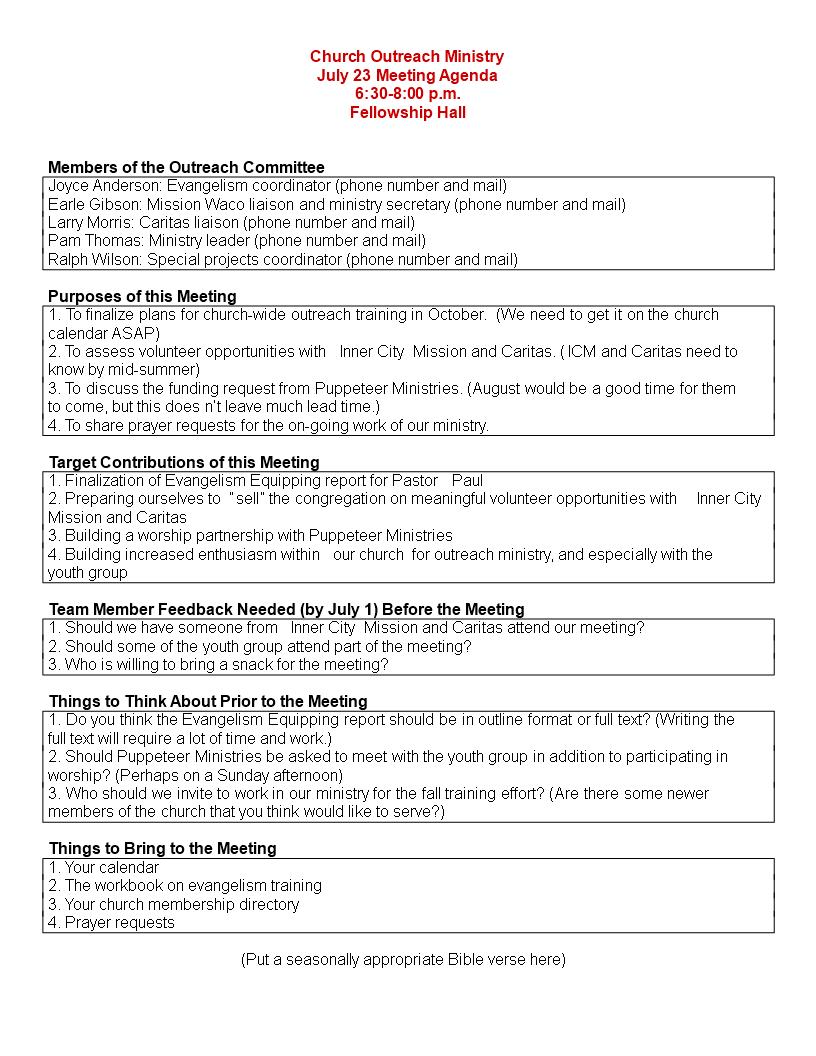 Church Meeting Agenda Outline Main Image