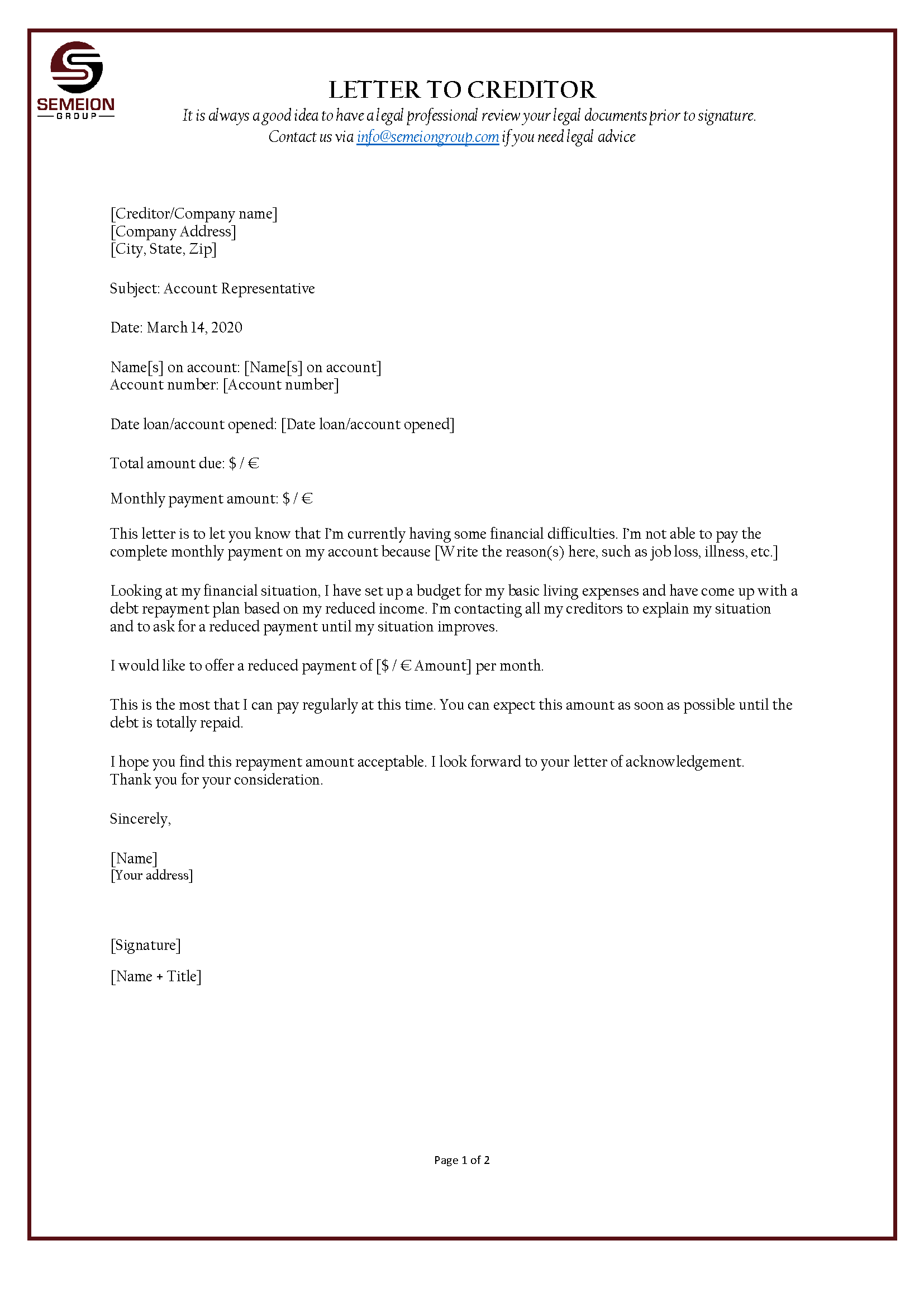 Letter to Creditor template | Templates at allbusinesstemplates.com