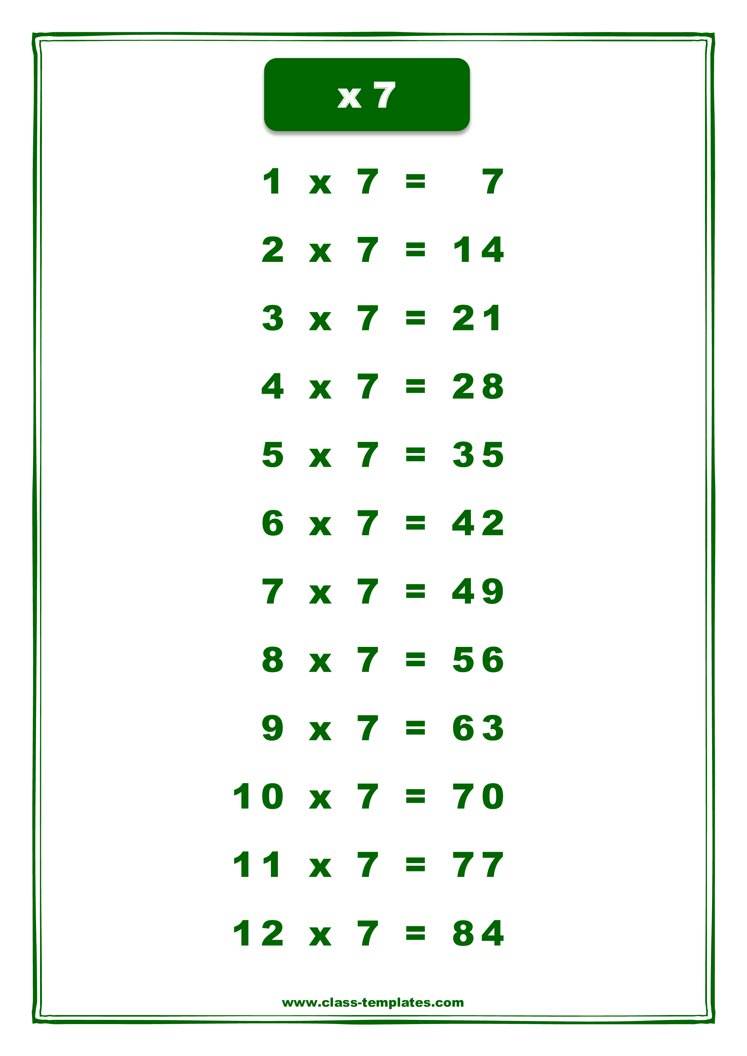 X7 Times Table Chart
