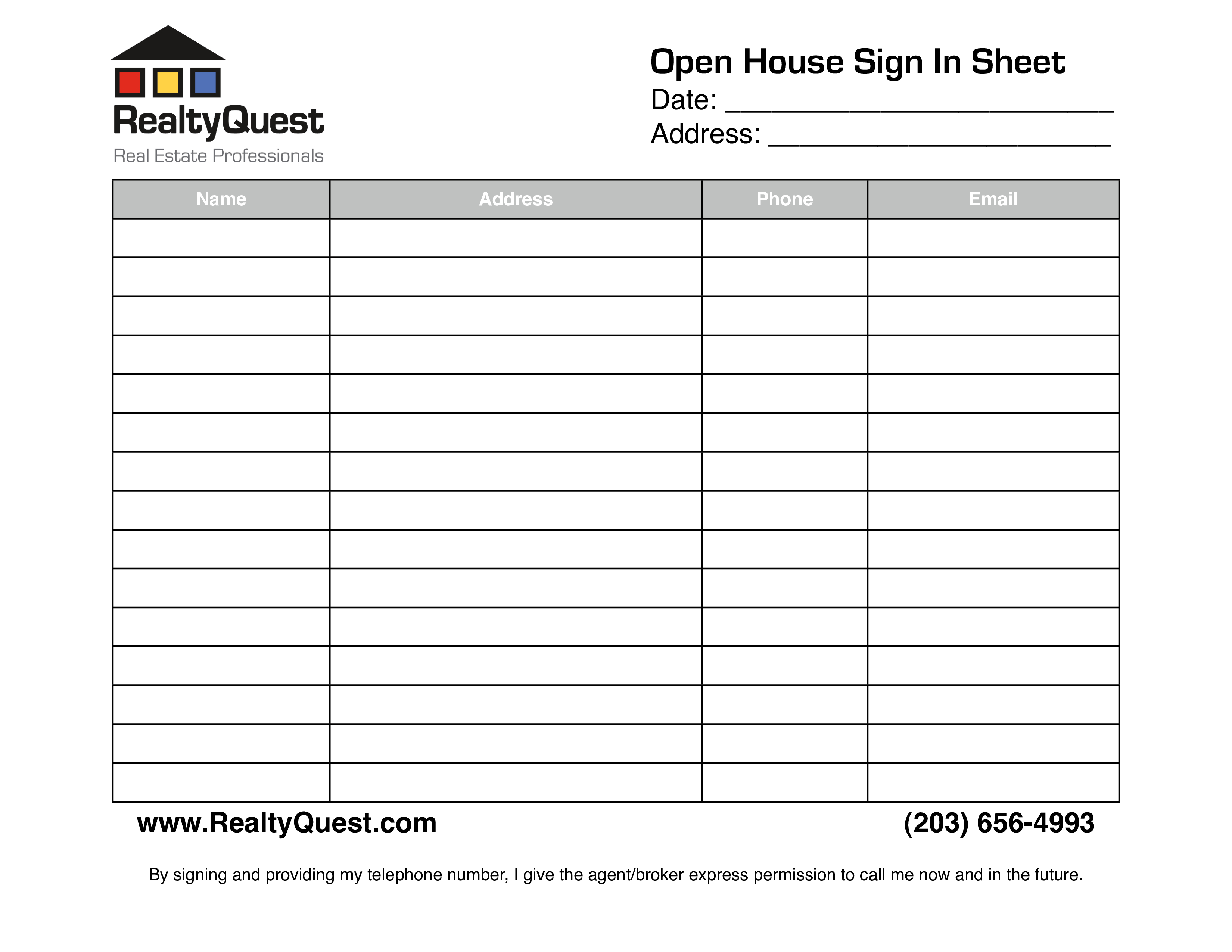Free Real Estate Open House Sign In Sheet