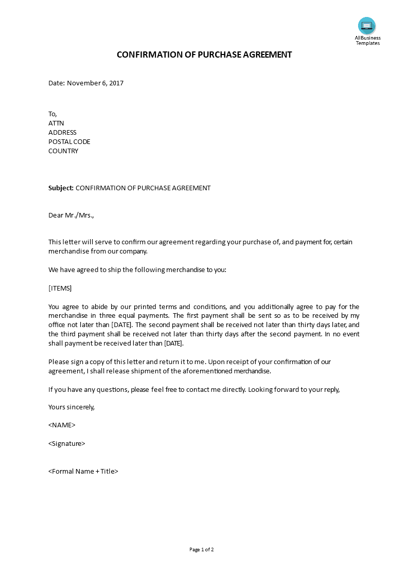 Confirmation Purchase Agreement Cover letter  Templates