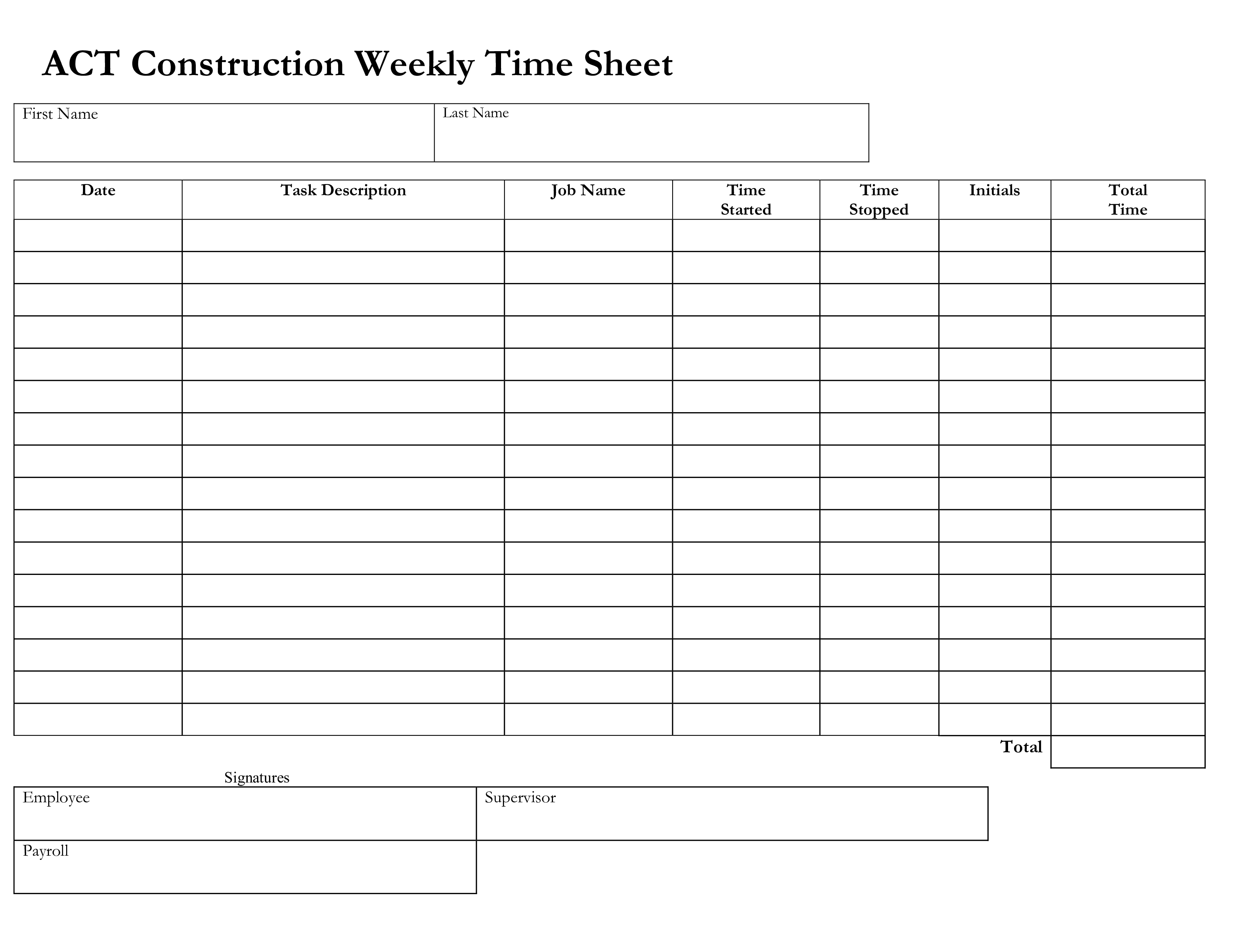Free Construction Weekly Time Sheet