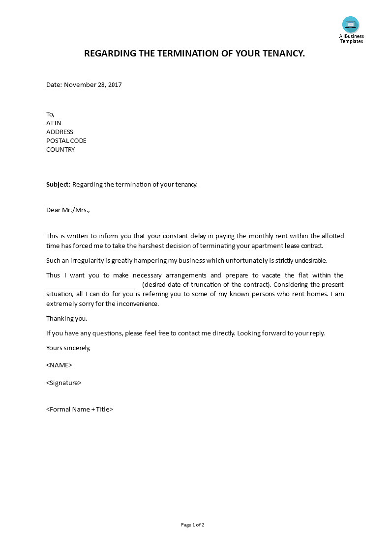 Tenancy Termination Letter Main Image