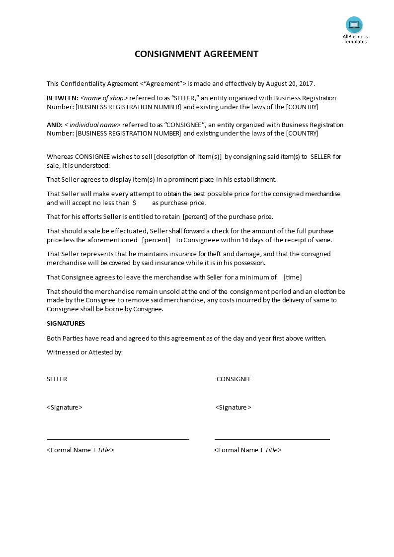 Consignment Agreement sample | Templates at allbusinesstemplates.com