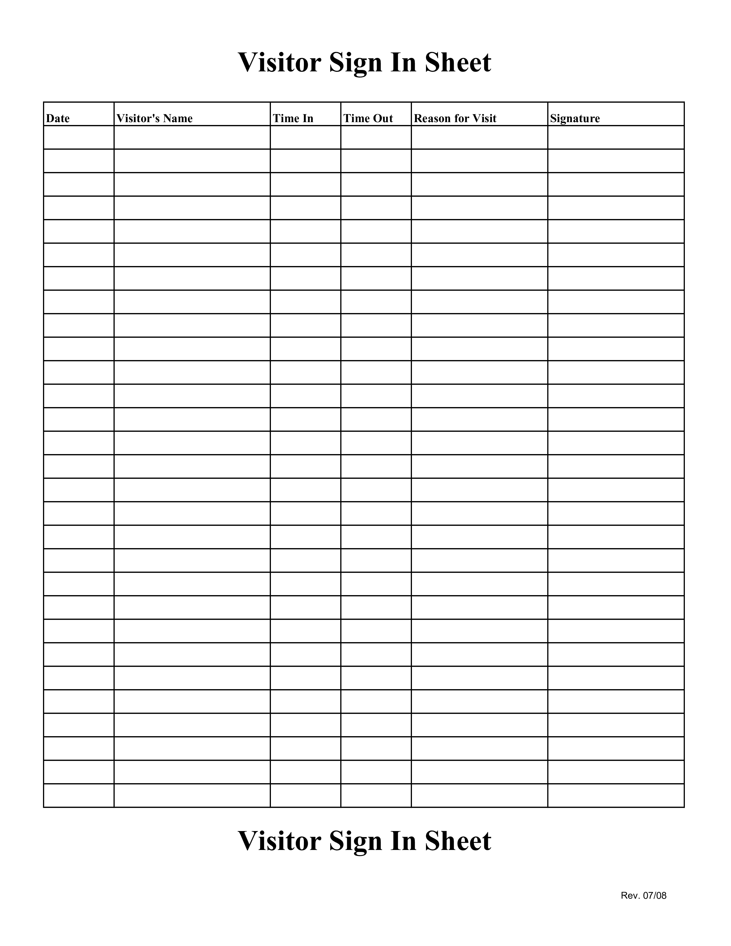 Visitor Sign In Sheet Template Free