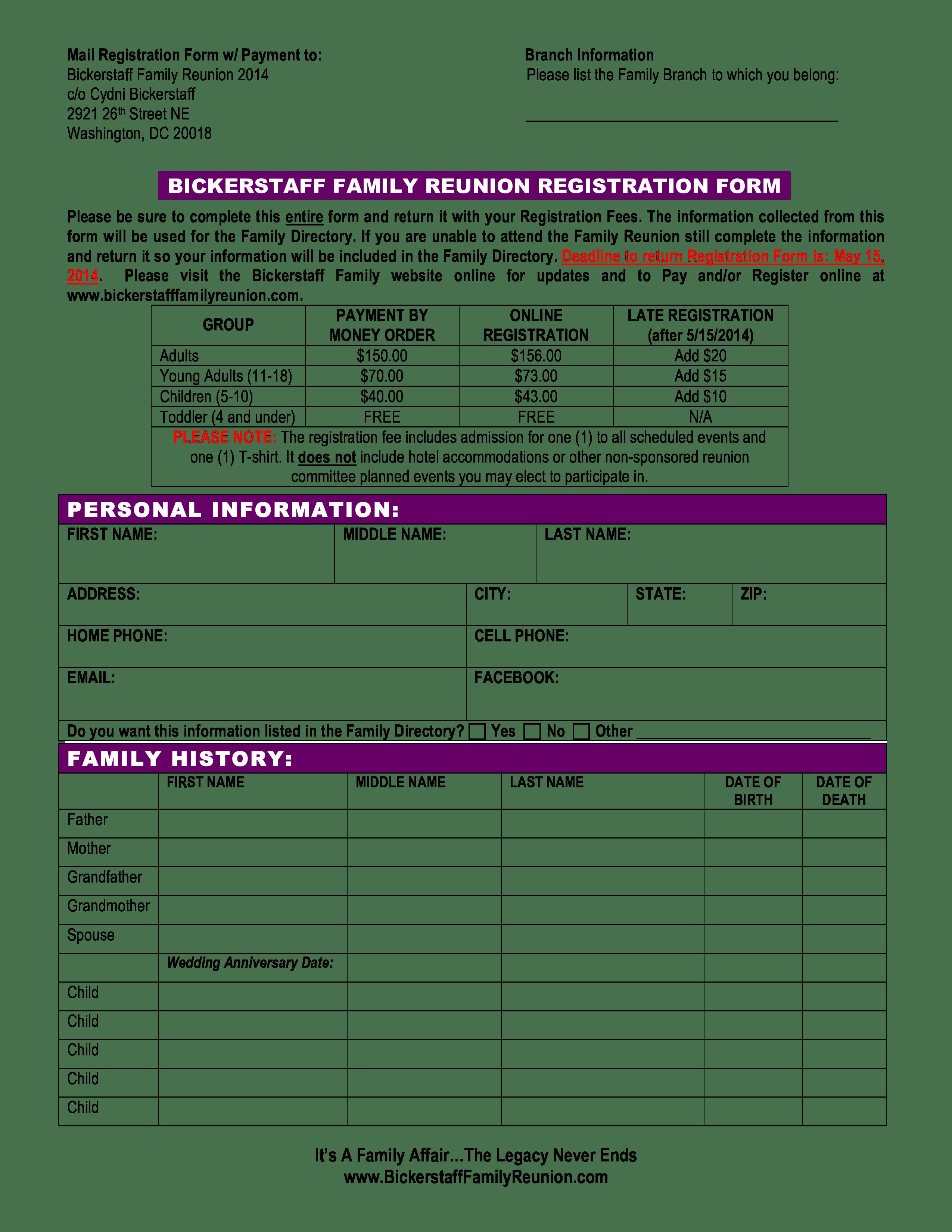 Family Reunion Registration Form   Templates at allbusinesstemplates.com