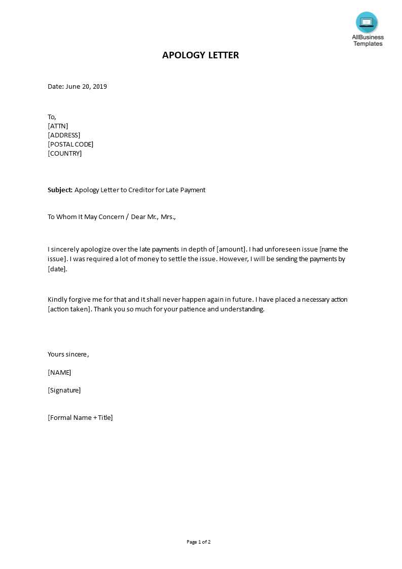 Apology letter to Creditor for Late Payment | Templates at allbusinesstemplates.com