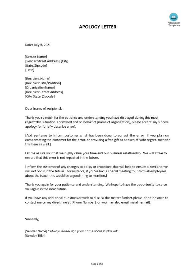 免费 Apology Letter for mistake to customer template  样本文件在