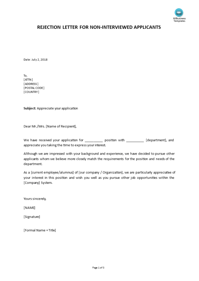 Job Applicant Rejection Before Interview Letter template  Templates