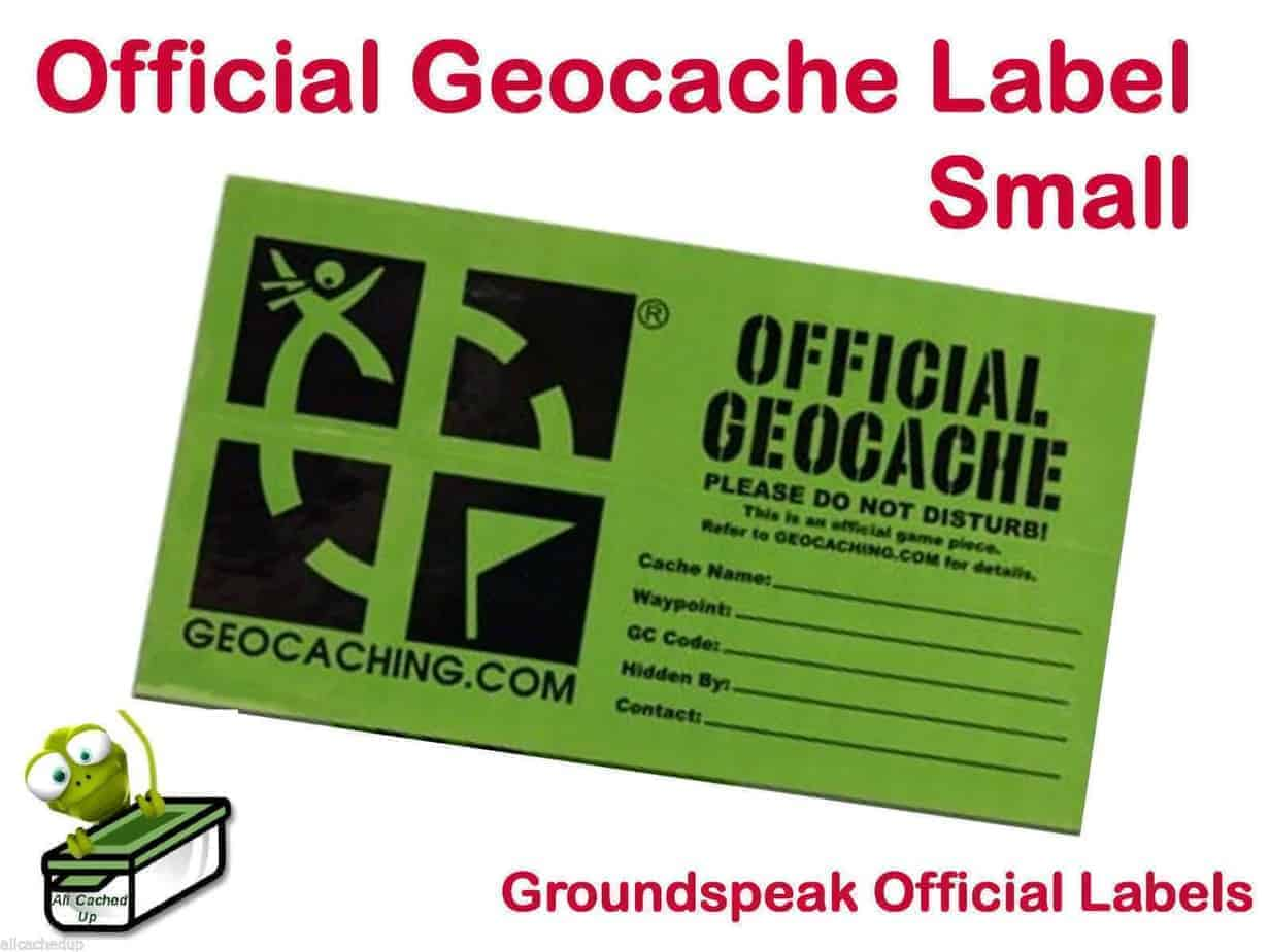 Small Official Geocache Cache Label Sticker With A