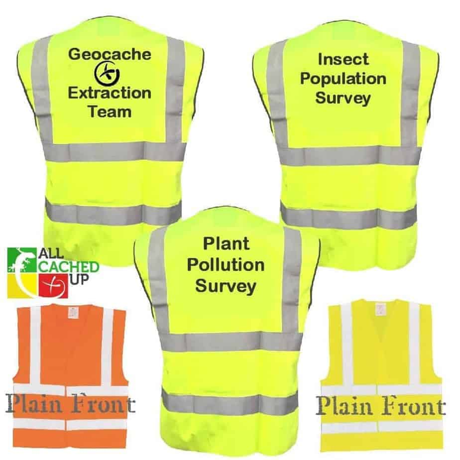 Geocaching Disguise Muggle Event Wear - Hi Vis Vest - We can print ANY Text