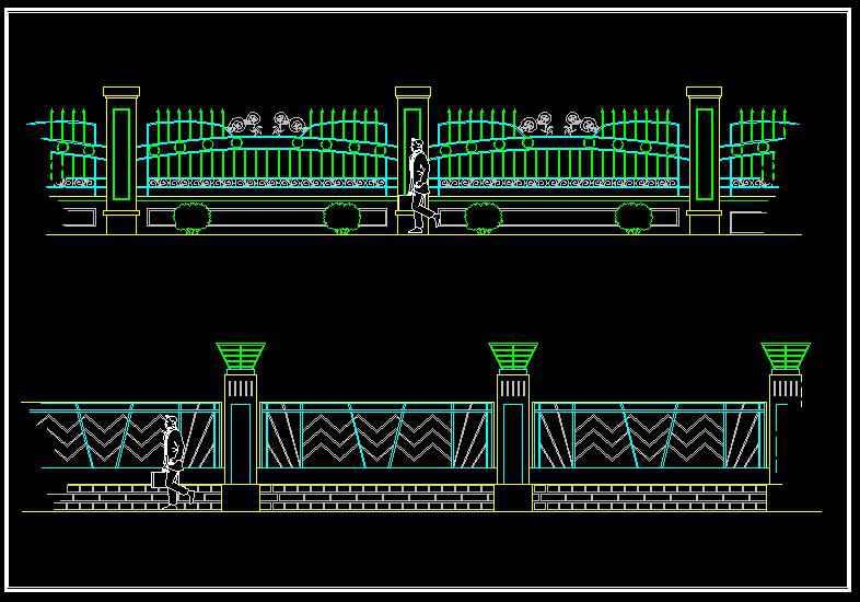 Wrought Iron Railing Fence Design】★ Free Autocad Blocks