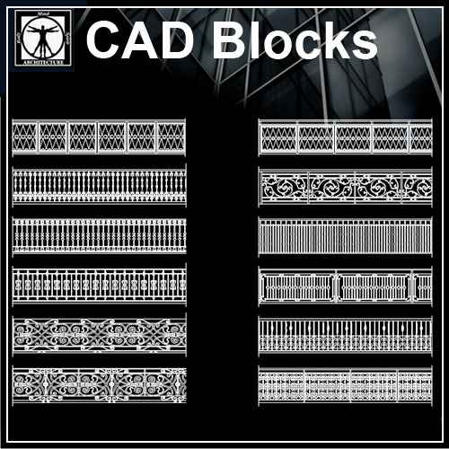 Free Wrought Iron Railings 1 – Free Autocad Blocks
