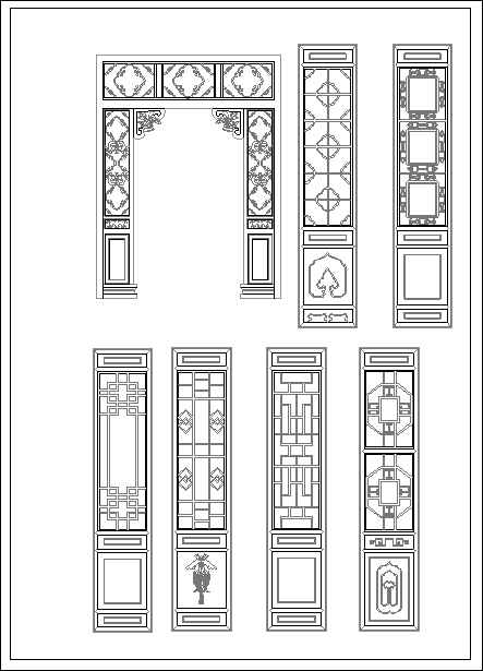Chinese window lattice drawing free autocad blocks - Finestre prospetto dwg ...