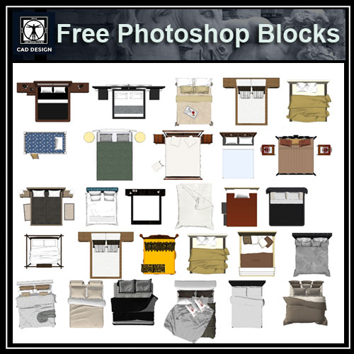 Free photoshop psd bed blocks 1 free cad blocks for 2d architectural drawing software free