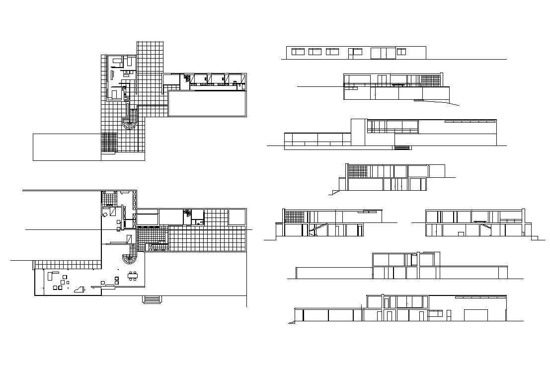 Ludwig mies van der rohe farnsworth house free cad for House plan cad file