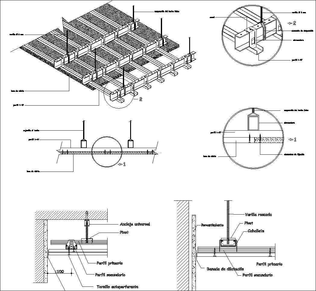 Suspended Gypsum Board Ceiling Cad Details