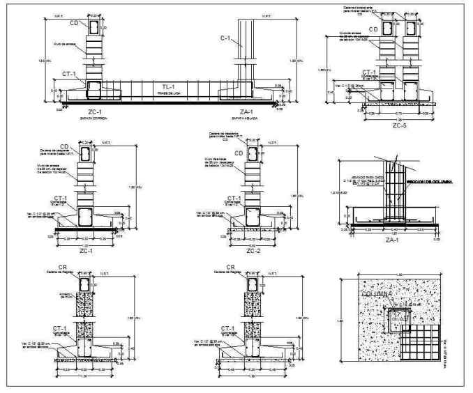 Foundation details v1 download cad blocks drawings for Concrete foundation types