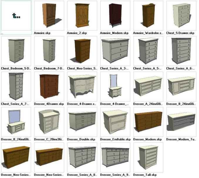 Sketchup dressers 3d models download free cad blocks for Modelli cad 3d free
