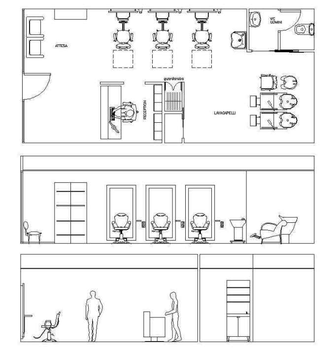 Barber shop plan free cad blocks drawings download center for Interior design cad free