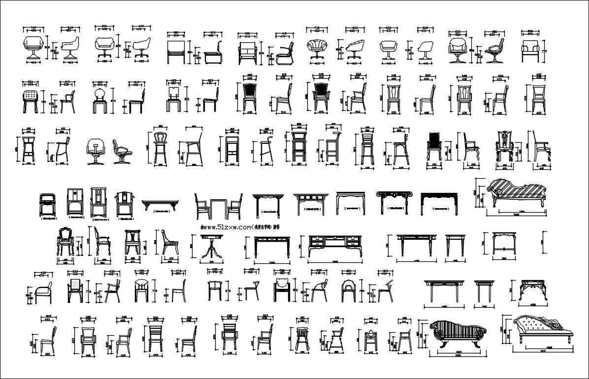 Furniture blocks-Chair block,elevation