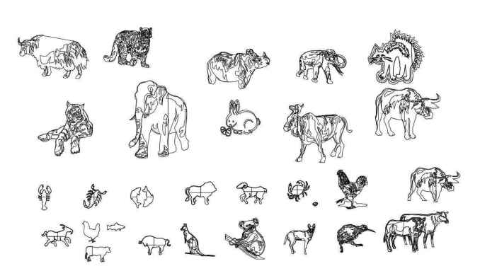 Line Drawings Of Animals Free Download : Free animal blocks cad drawings download