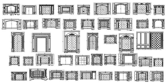 Wall Decoration Cad Blocks