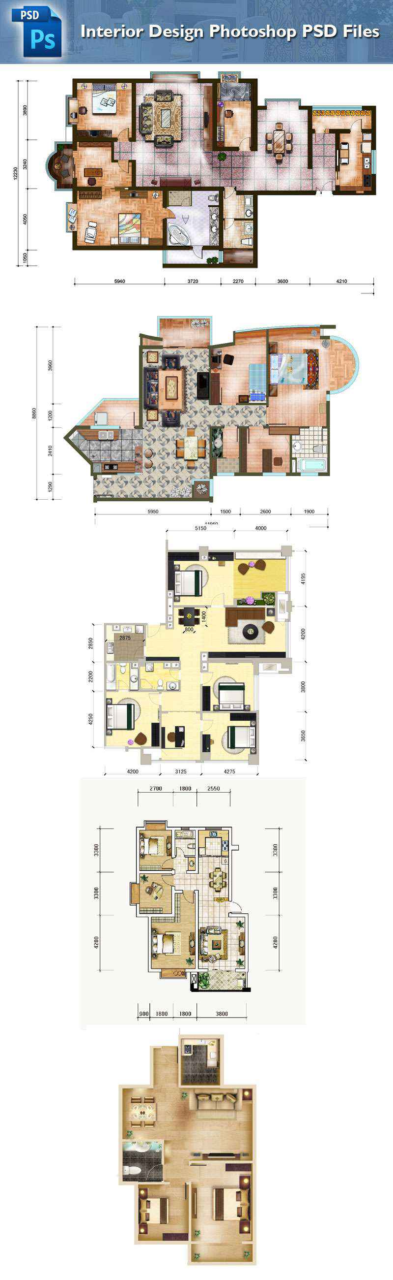 15 Types of Interior Design Layouts Photoshop PSD Template ...
