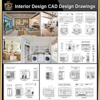 ★【Interior Design CAD Design,Details,Elevation Collection】Residential Building,Living room,Bedroom,Restroom,Decoration@Autocad Blocks,Drawings,CAD Details,Elevation