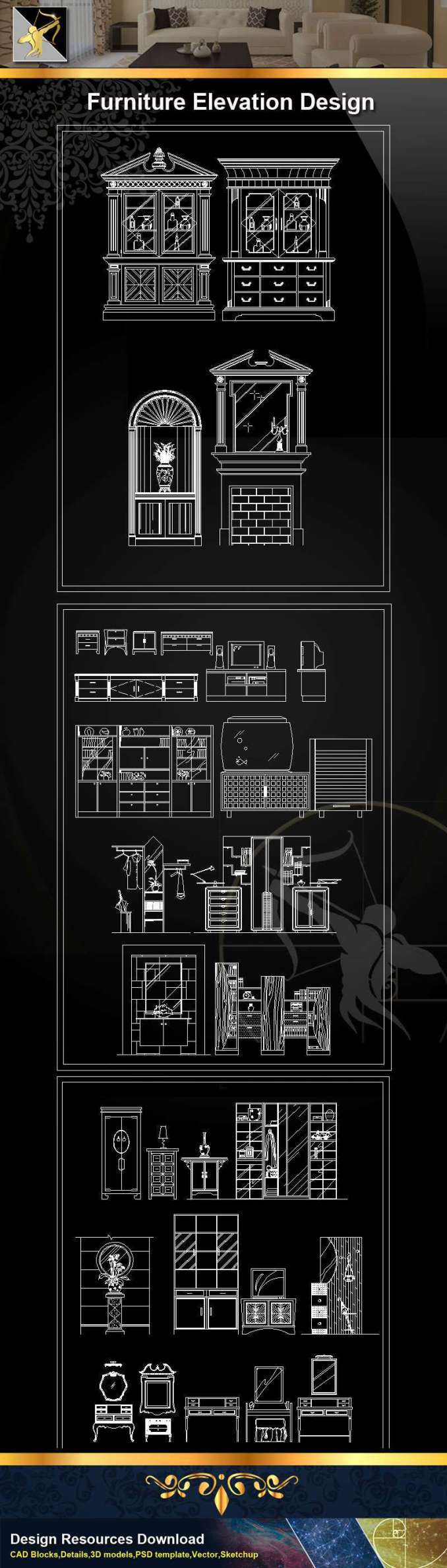 ★【Furniture Elevation Design】@Autocad Blocks,Drawings,CAD Details,Elevation