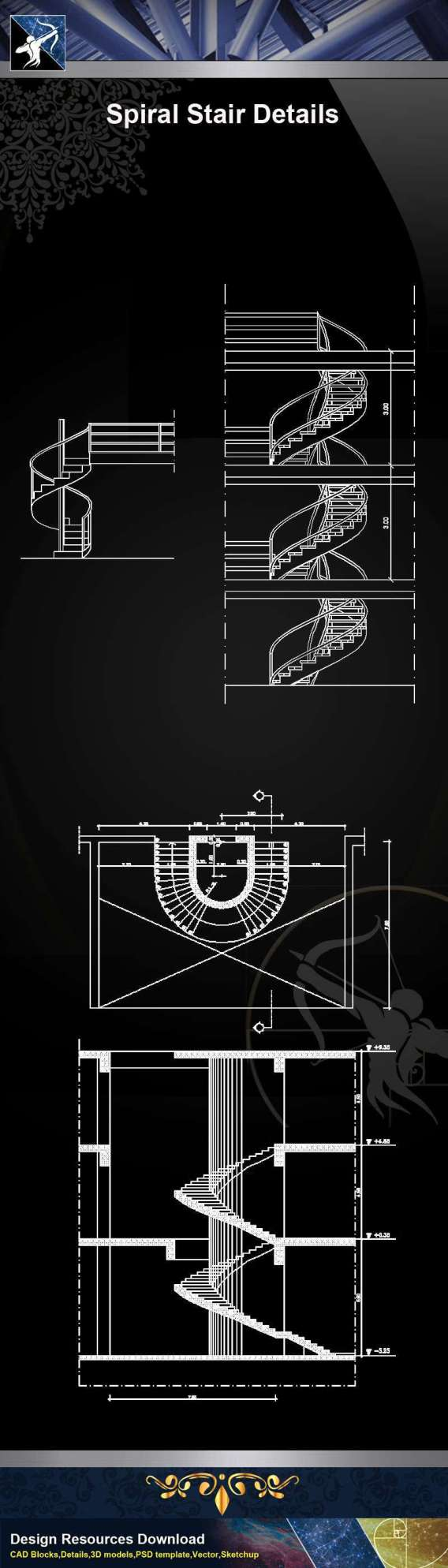 【Architecture CAD Details Collections】Spiral Stair CAD Details
