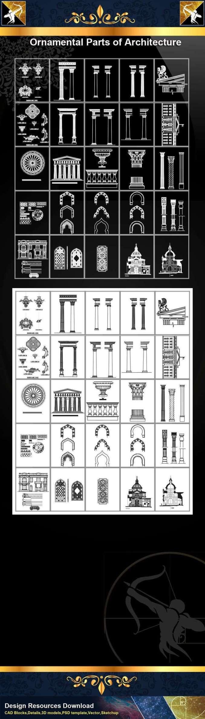 ★【Ornamental Parts of Architecture -Decoration Element CAD Blocks V.2】@Autocad Decoration Blocks,Drawings,CAD Details,Elevation
