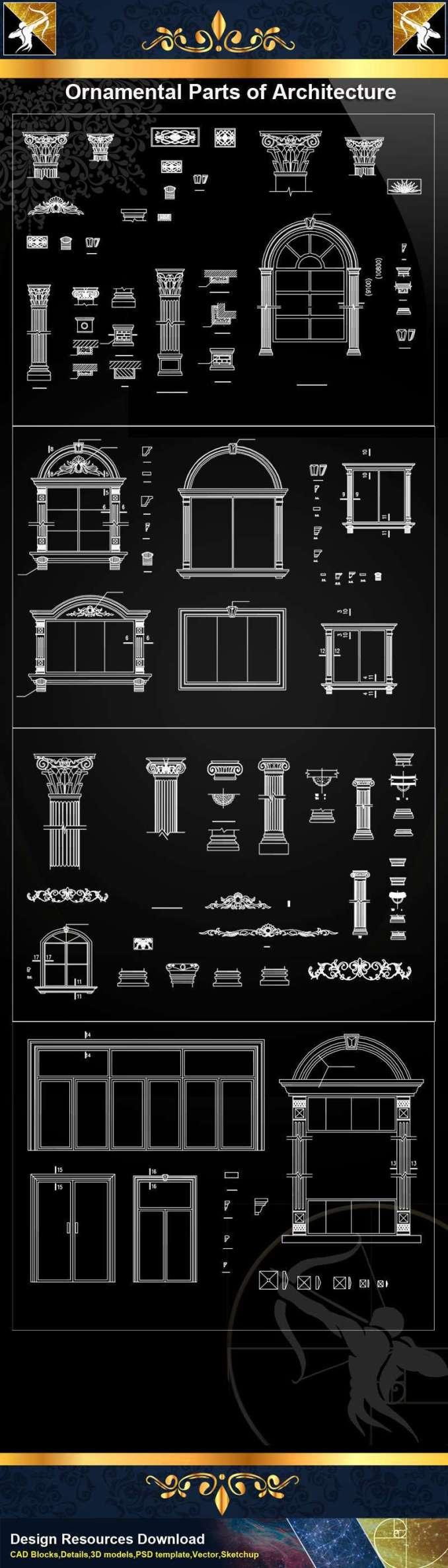★【Ornamental Parts of Architecture -Decoration Element CAD Blocks  V 8】@Autocad Decoration Blocks,Drawings,CAD Details,Elevation