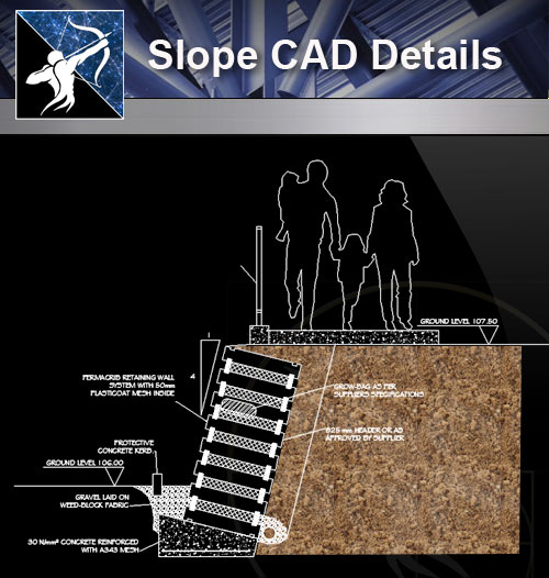 【Architecture CAD Details Collections】Slope CAD Details