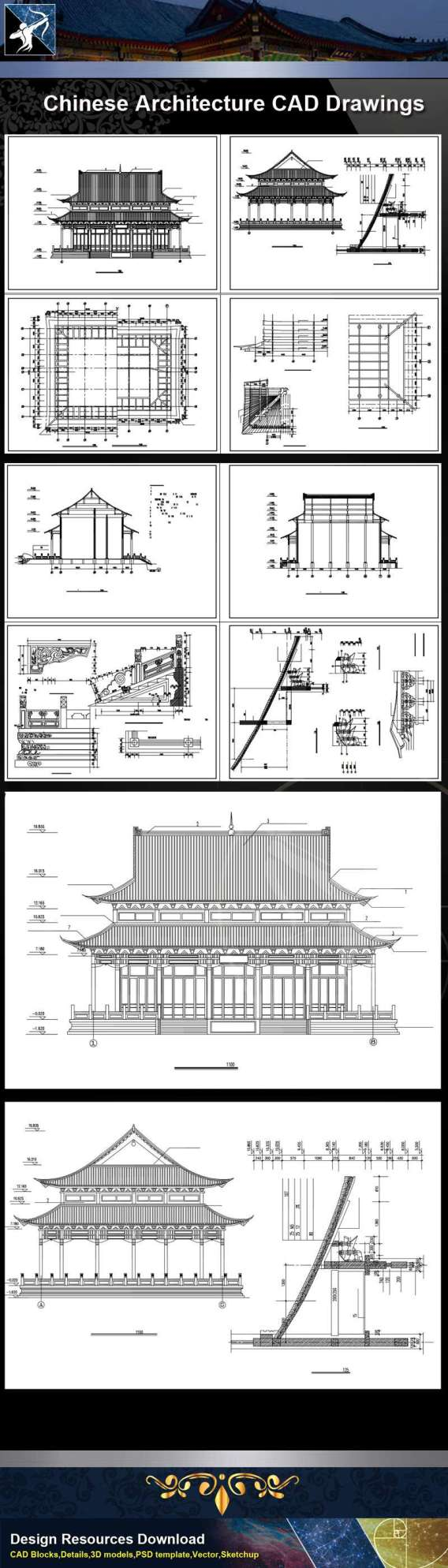 ★【Chinese Architecture CAD Drawings】@Grand Hall -Chinese Temple Drawings,CAD Details,Elevation