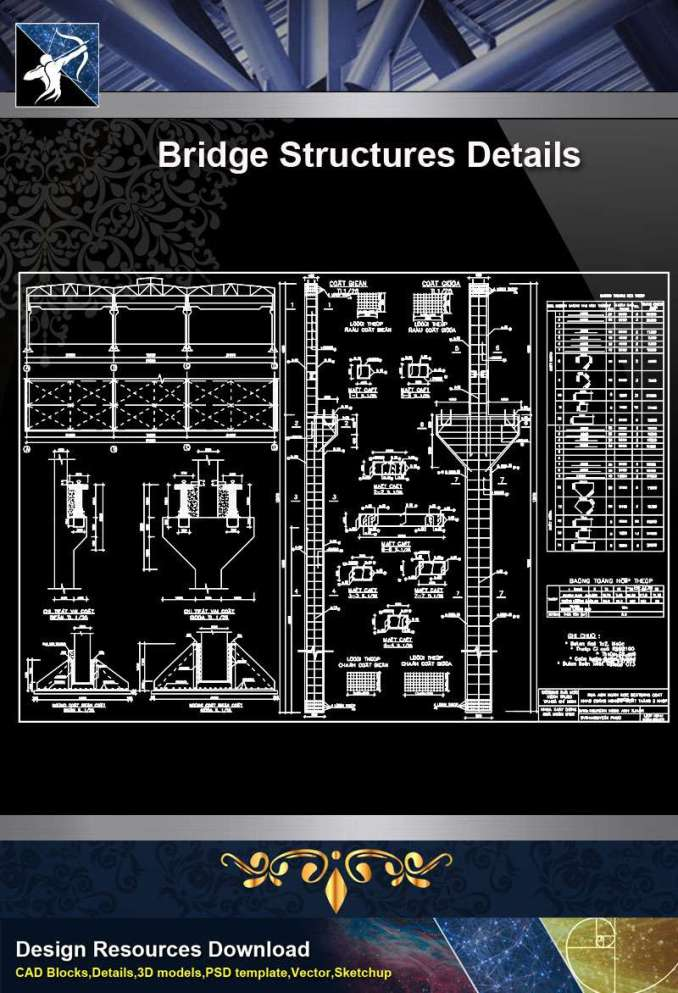 【Architecture CAD Details Collections】Design of Bridge Structures CAD Details
