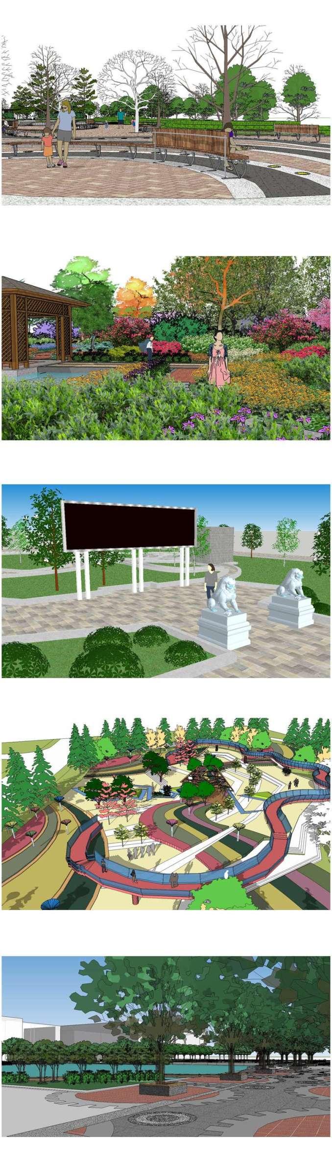 ★【Sketchup 3D Models】5 Types of Park Landscape Sketchup 3D Models V 3