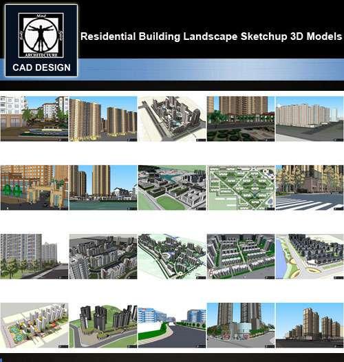 ★【Sketchup 3D Models】20 Types of Residential Building Landscape Sketchup 3D  Models V 5